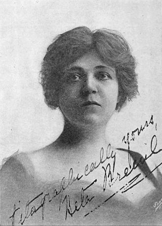 "Norma Talmadge - Beta Breuil, scenario editor for Vitagraph Studios, in a photograph published in 1912: The autograph is signed ""Vitagraphically yours."""