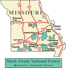 Mark Twain National Forest - Wikipedia on hiawatha national forest map, klamath national forest map, dixie national forest map, cleveland national forest map, green mountain national forest map, lewis and clark national forest map, washington state national forest map, cda national forest map, deerlodge national forest map, west virginia national forest map, winema national forest map, mississippi national forest map, toiyabe national forest map, gifford pinchot national forest map, coeur d'alene national forest map, white mountain national forest map, mt national forest map, flathead national forest map, ottawa national forest map, finger lakes national forest map,