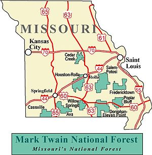 Mark Twain National Forest - Map of the National Forest
