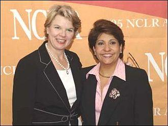 Janet Murguía - Education Secretary Margaret Spellings with Janet Murguía on July 18, 2005