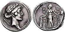 Muse Melpomene, Denarius, 56 B.C., Rome.jpg