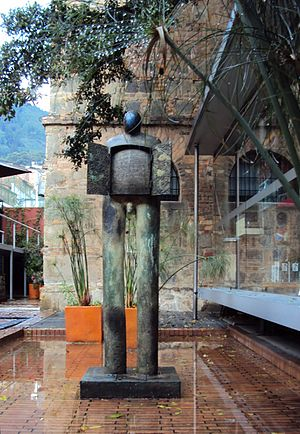 """Jim Amaral - Jim Amaral """"Doored chest"""", 2000, bronze. The Sculpture Garden in The National Museum, Bogotá, Colombia (permanent collection)."""