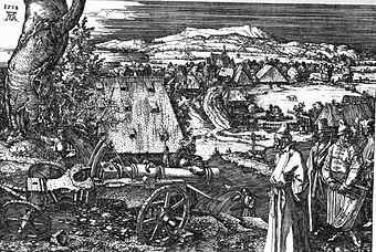 The Cannon, Dürer's largest etching, 1518