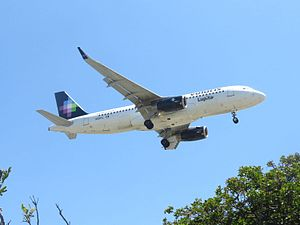 Volaris - A Volaris A320 landing at Los Angeles International Airport.