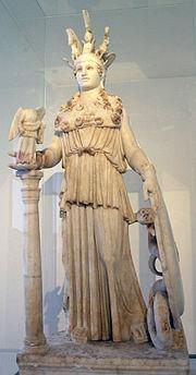 Η Αθηνά της Βαρβακείου, αντίγραφο του χρυσελεφάντινου αγάλματος της Αθηνάς του Παρθενώνα.
