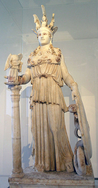 Phidias - A Roman period, 2nd century AD sculpture found near the Varvakeion school reflects the type of the restored Athena Parthenos presently in the National Archaeological Museum, Athens