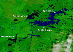 Location of Split Lake in Manitoba
