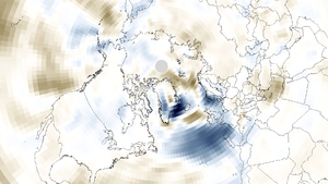 2013–14 Atlantic winter storms in Europe - NOAA North Atlantic wind speed anomaly January–February 2014