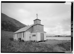 NORTH SIDE AND WEST FRONT - St. Herman Russian Orthodox Church, King Cove, Aleutians East Borough, AK HABS AK,1-KICO,1-1.tif