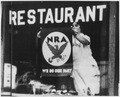 NRA-Blue Eagle Emblem-poster displayed in restaurant window stating their participation and support for government... - NARA - 196519.tif