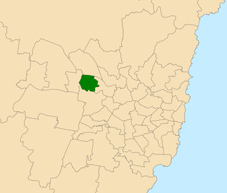 Electoral district of Blacktown - Location within Sydney