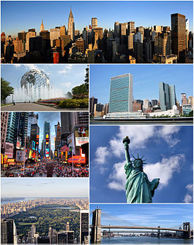 Clockwise frae top: Midtown Manhattan, the Unitit Naitions Heidquairters, the Statue o Liberty, the Brooklyn Bridge, Central Park, Times Square, an the Unisphere in Queens