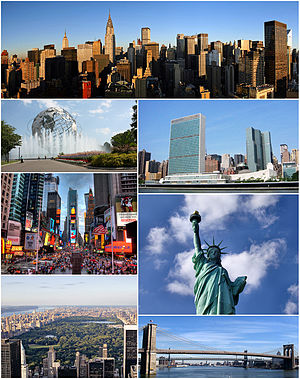 Clockwise from top: Midtown Manhattan, the United Nations Headquarters, the Statue of Liberty, the Brooklyn Bridge, Central Park, Times Square, and  the Unisphere in Queens.