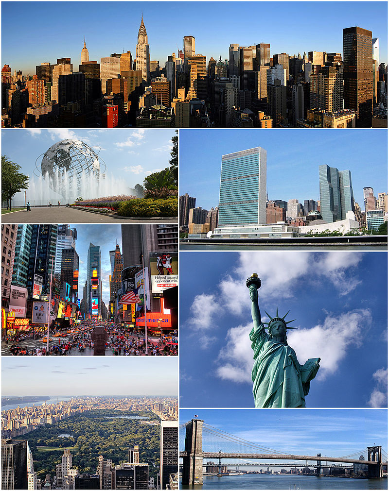 Clockwise from top: Midtown Manhattan, the United Nations Headquarters, the Statue of Liberty, the Brooklyn Bridge, Central Park, Times Square, and  the Unisphere in Queens