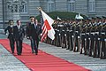 Nakasone and Reagan reviewing troops at arrival ceremony at Palace in Tokyo, Japan May 4, 1986.jpg