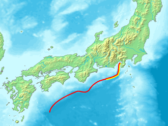 Suruga Trough - The yellow line is the Suruga trough, part of the longer Nankai trough in red