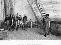 Napoleon standing alone on a sailing vessel with a group of his officers watching him intently