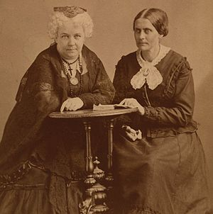The Revolution (newspaper) -  Elizabeth Cady Stanton and Susan B. Anthony about 1870