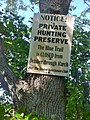 Narragansett Trail - Groton Sportsman Club Private Hunting Preserve hunting season trail closing sign at CT-49 (Pendleton HIll Rd) entrance.jpg