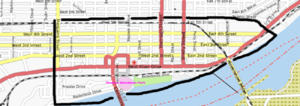 National Register of Historic Places listings in Downtown Davenport, Iowa - Border of Downtown Davenport
