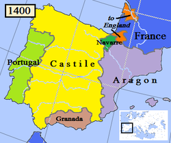 Kingdom of Navarre in 1400 (dark green).