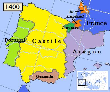 Kingdom of Navarre in 1400 (dark green).