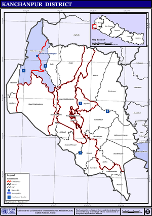 Kanchanpur District - Map of Municipalities and VDC/s in Kanchanpur District