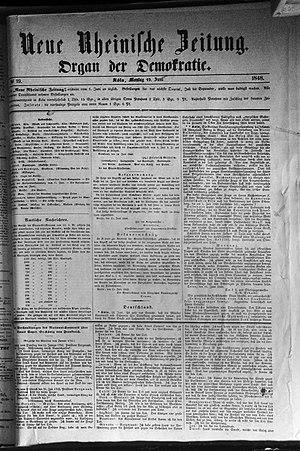 Neue Rheinische Zeitung - The 19 June 1848 edition of Neue Rheinische Zeitung.