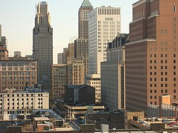 Newark skyline Prudential Headquarters.jpg