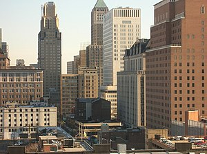 Prudential Financial - Newark skyline with the Prudential Financial headquarters at right.