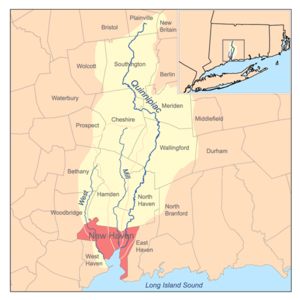Quinnipiac River - Map showing the Quinnipiac River watershed.