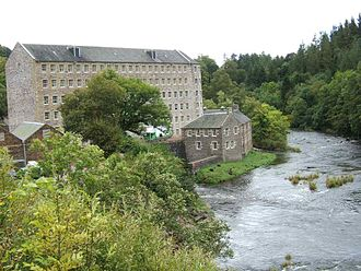 River Clyde - New Lanark Mill Hotel and Waterhouses by River Clyde