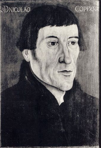 Photograph of a 16th-century portrait of Copernicus - the original painting was looted, and possibly destroyed, by the Germans in World War II during the occupation of Poland. Nicolas Copernicus Polish cropped.JPG