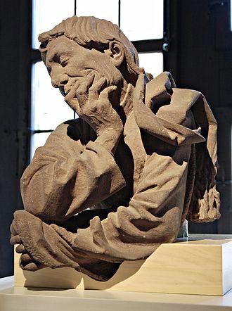 Nikolaus Gerhaert - Man Meditating (Buste d'homme accoudé), an apparent self-portrait, c. 1467