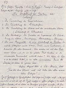 Prima stesura dell'Eterno Ritorno, scritta da Nietzsche dopo l'esperienza