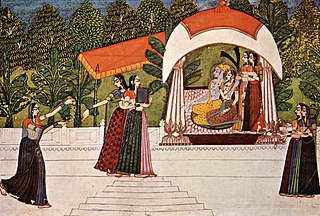 Rajput painting art style that evolved in the courts of Rajputana in India