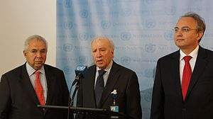 Macedonia naming dispute - UN Mediator Matthew Nimetz with negotiators Zoran Jolevski and Adamantios Vassilakis at a press conference after the round of negotiations in November 2012