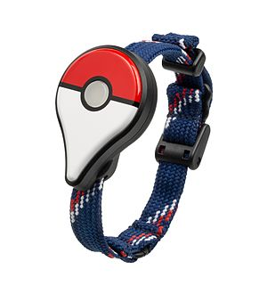 Pokémon Go - The Pokémon Go Plus, shown with wrist strap.