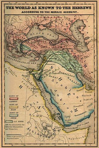 """Mushki - """"The World as known to the Hebrews"""", a  map from the Historical Textbook and Atlas of Biblical Geography  by Coleman (1854) locates the Mesech together with Gog and Magog in the southern Caucasus."""
