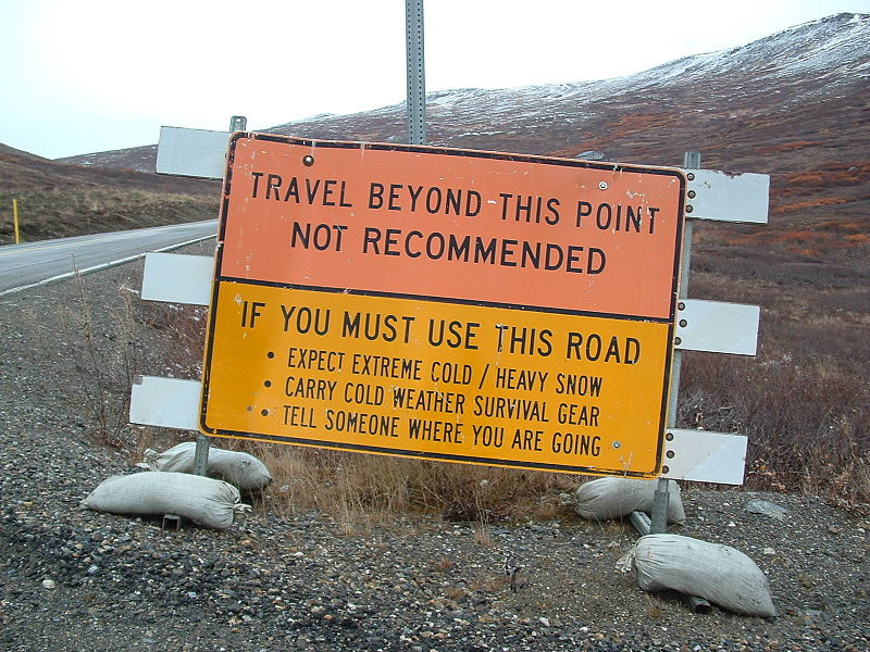 File:Nome Alaska road sign.jpg
