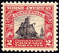 A bicolor two cent postage stamp, showing  a 19th century sailing ship