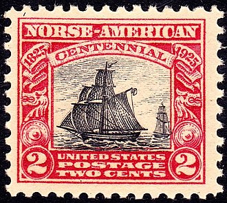 Norse-American Centennial - A U.S. postage stamp featuring the sloop Restauration issued in honor of the 100th anniversary of Norwegian immigration.