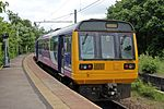 Northern Rail Class 142, 142001, platform 3, Earlestown railway station (geograph 4531142).jpg