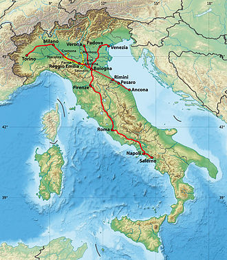 Nuovo Trasporto Viaggiatori - Routes of NTV