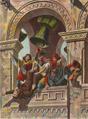 O povo amotinado precipita o cadáver do bispo D. Martinho da torre da Sé (Roque Gameiro, in Leonor Telles, por Marcelino Mesquita, 1904).png