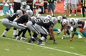 Tackle (gridiron football position) - Image: Oakland offensive line Miami Dolphins vs Oakland Raiders 2012