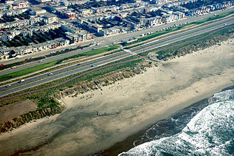 Ocean Beach, San Francisco - Aerial view of the Ocean Beach neighborhood at Taraval Street
