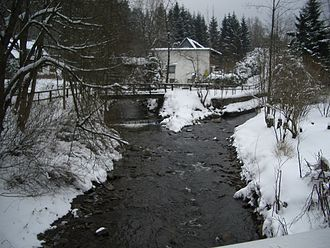 Oker - Confluence of the Oker (left) and Gerlachsbach (right) in Altenau