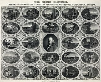 Poor Richard's Almanack - A nineteenth-century print based on Poor Richard's Almanack, showing the author surrounded by twenty-four illustrations of many of his best-known sayings.