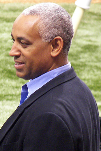 New York Mets Omar Minaya before a Mets/Devil ...